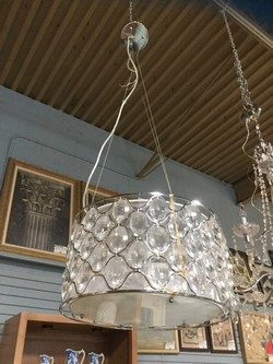 3 Light Crystal and Silver Drum Shade Light Fixture