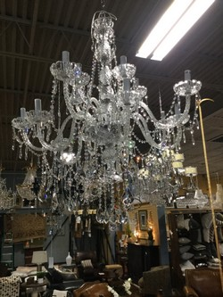 "2 Tiered 12 Light Crystal Chandelier - 53""H 40"" W"